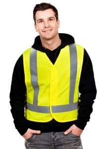 man in a neon safety vest